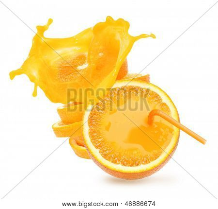 Stack of orange fruit slices with juce splash isolated on white background.