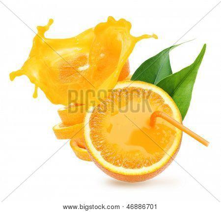 Stack of orange fruit slices with juice splash isolated on white background.