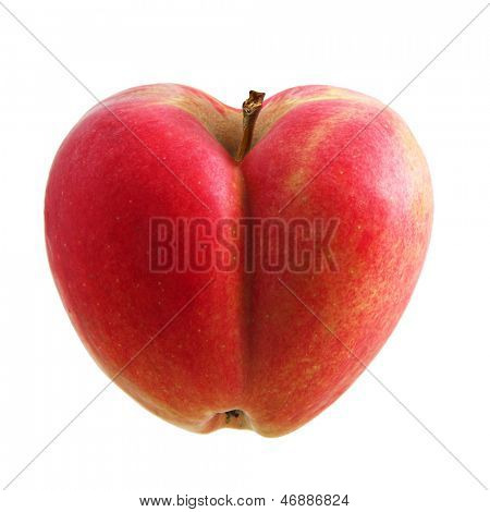 Heart symbol apple isolated over white background