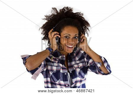 Young Afro American With Headphones