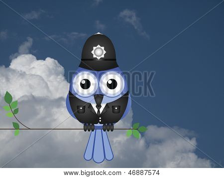Comical bird policeman