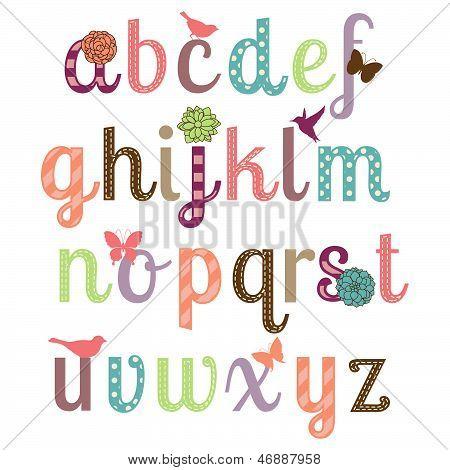 Alfabeto Girly Vector Set - más cartas en cartera