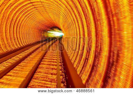 Golden Highway Rail Abstract Underground Railway Bund Shanghai China