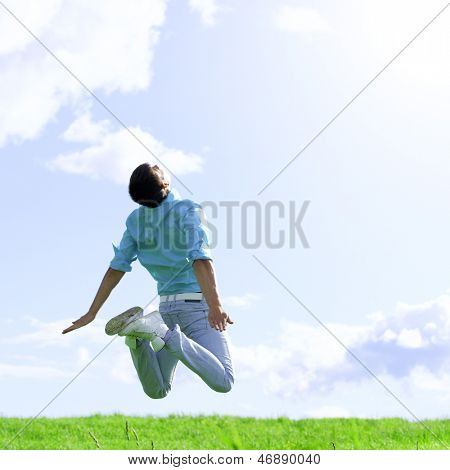 man jump in the blue sky