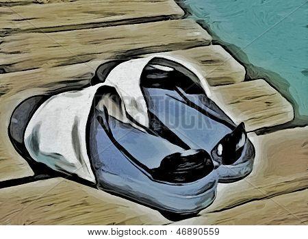 sunglasses and flip-flops on a pontoon