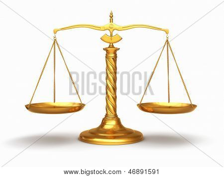 Justice concept. Gold scales on white isolated background. 3d