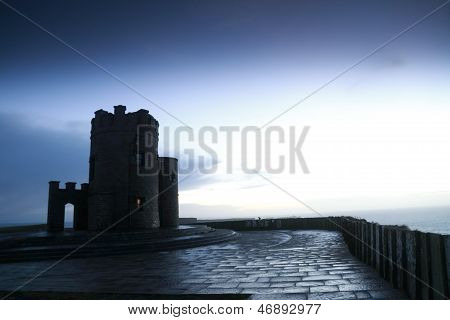 O Briens Tower On Cliffs Of Moher At Sunset