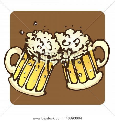 Hand Drawn Beer Mugs