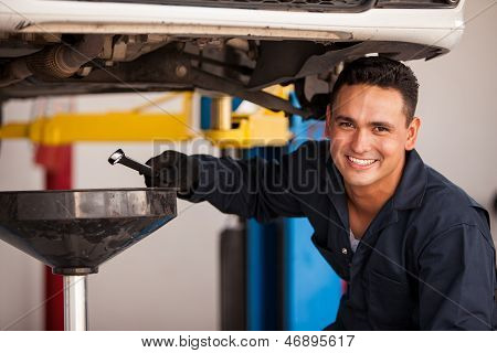 Oil change at an auto shop