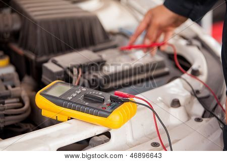 Checking the battery of a car