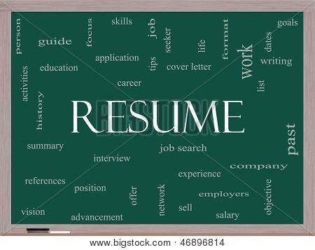 Resume Word Cloud Concept On A Blackboard