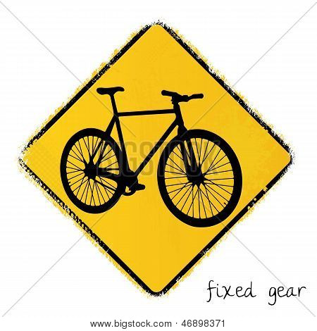 warning sign with a fixed gear bike