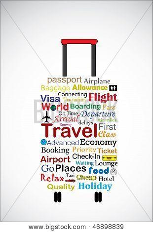 A ilustração de conceito Universal viagem saco usando mais usado viagens terminologias em forma