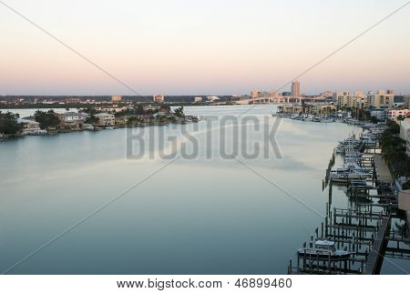 Early Morning Of Clearwater At Tampa Florida Usa