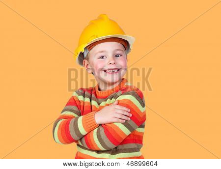 Funny little worker construction on a orange background