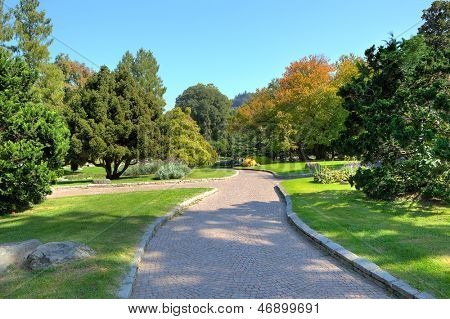 Narrow cobbled alley among green lawns and trees under clear blue sky at botanical part of famous Valentino Park in Turin, Italy.