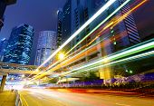 stock photo of hong kong bridge  - Busy traffic road at night - JPG