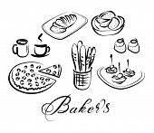 stock photo of fancy cakes  - food and drinks vector icon set - JPG
