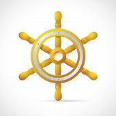 stock photo of ship steering wheel  - Illustration of vintage navy steering wheel on grey backdrop - JPG