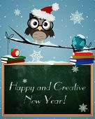foto of snowy owl  - Owl Happy and Creative New Year - JPG