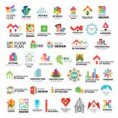 stock photo of roofs  - Collection of vector icons of design construction and home improvement - JPG