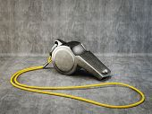 image of umpire  - metal whistle isolated on a grey background - JPG