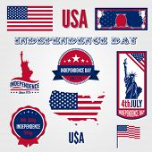 USA Independence day vector design template elements. 4th of July celebration symbols. American Nati