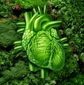 image of vegan  - Healthy heart diet with dark leafy green vegetables at a vegetable stand as a health care and nutrition concept for eating natural raw food packed with natural vitamins and minerals good for the human cardiovascular system - JPG