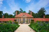 stock photo of slave-house  - Blossoming gardens on the grounds of George Washington - JPG