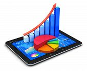 stock photo of diagram  - Mobile office stock exchange market trading - JPG
