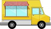 stock photo of awning  - yellow food bus with awning isolated on white background - JPG
