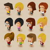 picture of midget  - People Women Isometric Set - JPG