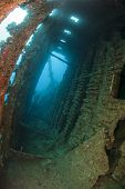image of shipwreck  - Interior of an old shipwreck underwater showing structure - JPG