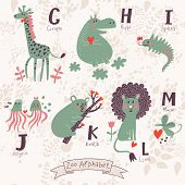 Cute zoo alphabet in vector. G, h, i, j, k, l, m letters. Funny animals in love. Giraffe, hippo, igu