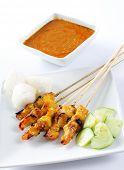 stock photo of hari raya  - Chicken satay - JPG