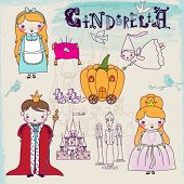 stock photo of cinderella  - Cinderella Fairytale Characters and Symbols  - JPG