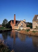image of slaughter  - Watermill on the River Eye Lower Slaughter Gloucestershire Cotswolds England UK Western Europe - JPG