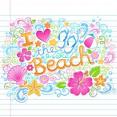 stock photo of beach shell art  - I Love the Beach Tropical Summer Vacation Sketchy Notebook Doodles with Hibiscus Flower - JPG