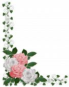 Roses Border Pink White Wedding Invitation