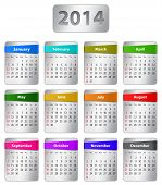 stock photo of weekdays  - Calendar for 2014 year in English with colorful stickers - JPG