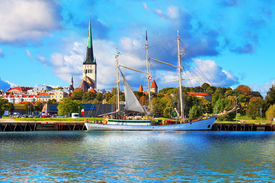 pic of historical ship  - Scenic summer panorama of pier with historical tall sailing ship in the Old Town in Tallinn - JPG