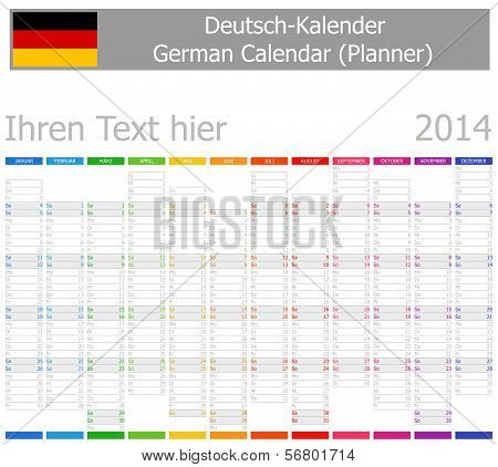 2014 German Planner-2 Calendar with Vertical Months