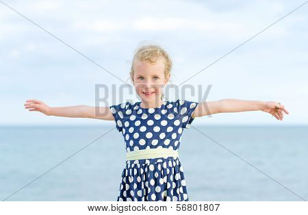 Little Girl Having Fun On Beach Vacation