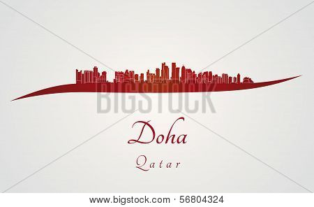Doha Skyline In Red