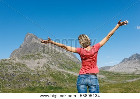 Happy woman enjoying freedom