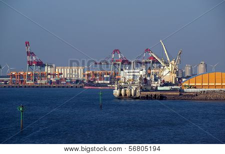 Docks And Cranes At Taichung Port In Taiwan