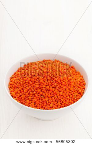 Red Lentils In Bowl