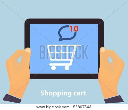 Hands holding Tablet PC screen showing on screen Shopping Cart Flat design Online Shopping concept a