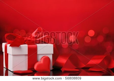 Valentine's gift box with red heart