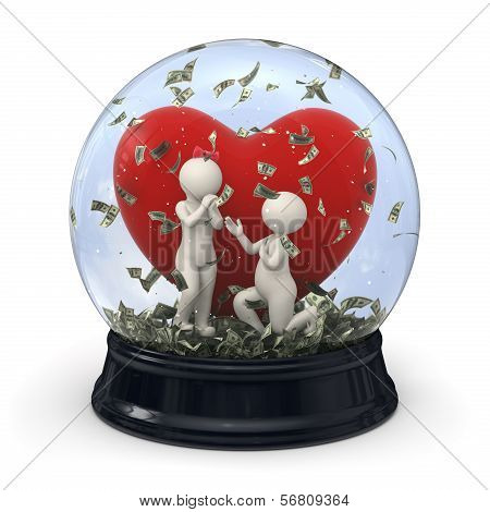 3D Couple In Snow Globe - Marriage Money Valentine